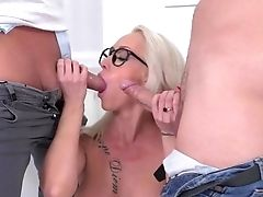 Huge-boobed Whore Loves The Two Dicks In Her Greedy Fuckholes
