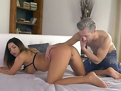 Amazing Black-haired Vanessa Decker Gives Tit Job And Nice Oral Pleasure To Stud
