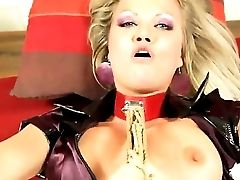 Decadent Golden Haired Honey Sunny Diamond In Leather Apparel Loves In A Hot And Sultry Restraint Bondage Hump Session With Lots Of Oral Jobs And Gets