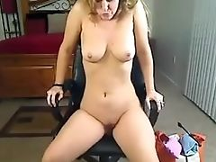 Fledgling Blonde Spreads Gams In Front Of The Webcam And Uses Her Gear