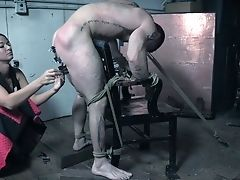 Perverted Mistress London Sea Penalizes Ball Sack And Dick Of One Perverted Tied Up Man