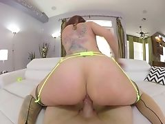 Red-haired Wifey Luci Power Gives A Dt And Rails In Cowgirl