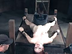 Slender Ginger-haired Floozy Gets Restrained And Pleasured With Hook-up Playthings
