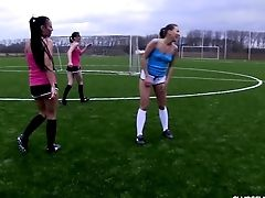 Soccer Honeys Disrobing On The Field To Display Off Their Tits