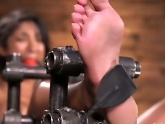 Ball-gagged Black Whore Sadie Santana Gets Her Cooch Fingerfucked Indeed Rough