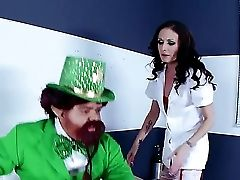 St-patricks Day In Hospital Is A Wonderful Tradition. Shameless Dark-haired Nurse Hailey Youthful Wear Her Best Crimson Undergarments And Choose One L