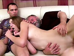 Nina Is Getting Screwed By An Old Fart In Front Of Her Beau
