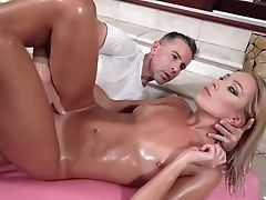 Towheaded Honey With Sexy Sunburn Angelika Grays Gets Oiled Before Lovemaking With Her Sport Instructor