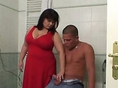 Huge-chested Mom And Beau In The Bathroom