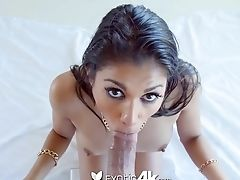 Exotic Nymph Drinks Gigantic Manhood And Gets Her Cootchie Slammed And Opened Up