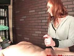 Dom Ginger Masseuse Providing Roped Wankjob