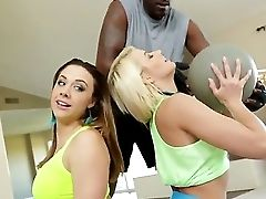 Anikka Albrite And Chanel Preston With Their Black Coach Lexington Steele At The Special Training