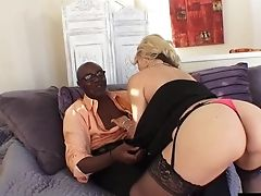Classy Blonde Cougar Sarah Has Her Hairy Cunt Rammed With A Big Black Cock
