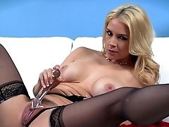 Blonde Uses Tool Over Her Hairy Cunt