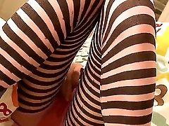 The Youthful Cutie Beata Looks So Hot And Delicious. She Has Spread Her Lengthy Gams In Striped Stockings And Fondled The Muff Down Thru Panty. Incred