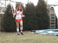 A Super-naughty Lady In A Very Sexy, Scandalous Softball Uniform