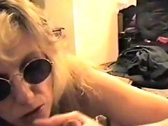 Blonde Cougar Suck Dick And Make Him Jism On Her Tongue