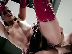 Deviant Chick In Spandex Stockings Gladly Takes The Big Pink Cigar Into Her Pink Hole