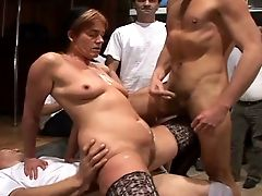 Old Whore Keeps Her Bod In Form By Having Gang-bang Fuckfest On A Daily Basis