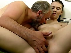 Skinny Coed Is Having Fuck-a-thon With Her Professor In The Kitchen