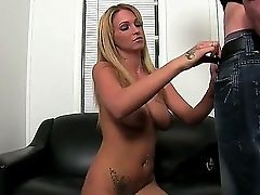 Smoking Hot Tempting And Inviting Blonde Trixie Starlet With Big Natural Hooters And Sexy Tattoo On Lower Belly Gets Naked At The Interview And Does M