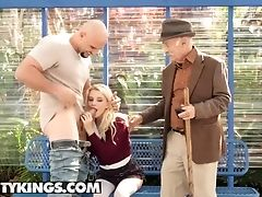 Reality Kings - Smallish Blonde Teenagers Riley Starlet Gargles And Fucks In Public