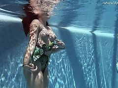 Spanish Cutie With Nice Mouth-watering Titties Diana Rius Swims In The Pool In Erotic Mode