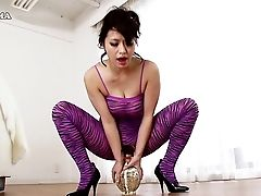 Mischievous Asian Chick In Purple Clothes Attempts To Bounce On The Fuck-a-thon Fucktoy