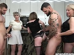 Three Lustful Grannies Fuck Two Splendid And Youthful Boys